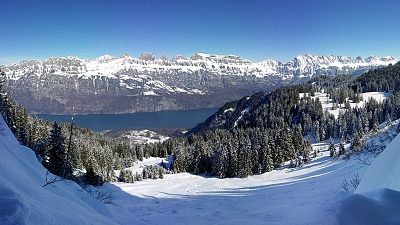 Panorama view of Churfirsten Mountains and Lake Walensee