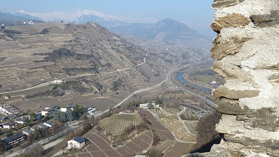 View of the Vineyards and the Rhone Valley from Tourbillon.