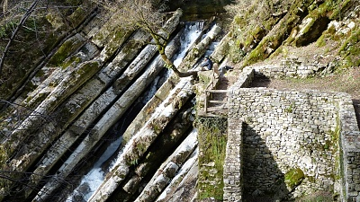 "At the site of the old mill ""Mulina da Canaa"" in the Breggia Gorge"