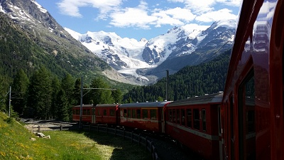 When traveling by train from Pontresina to the Bernina Pass,  you get a good view of the Morteratsch Glacier.