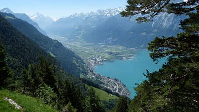 Panorama views into the Reusstal Valley all the way to Mount Bristen