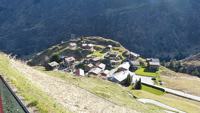 Little village of Tschamut, the starting point of the hike