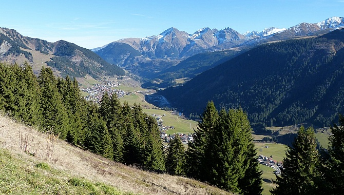 View to Sedrun in the Surselva Valley