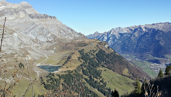View from Chnügrat North up the Linthal Valley and to the Oberblegi Lake.