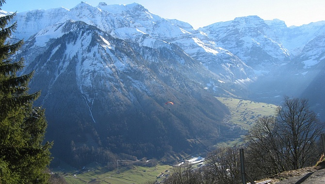 View into the Linth Valley from the Braunwald funicular station