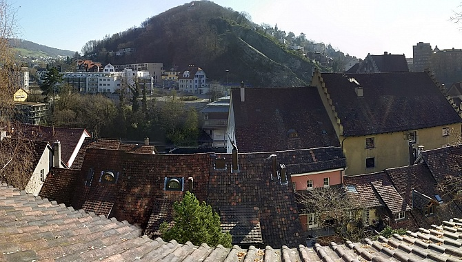 View of the Lägeren Ridge across Baden rooftops
