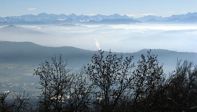 Occasional views of the Alps to the South on a clear day