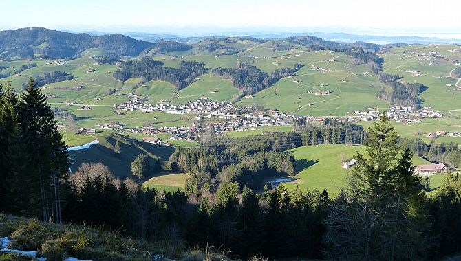 View from the ridge down to Schönengrund