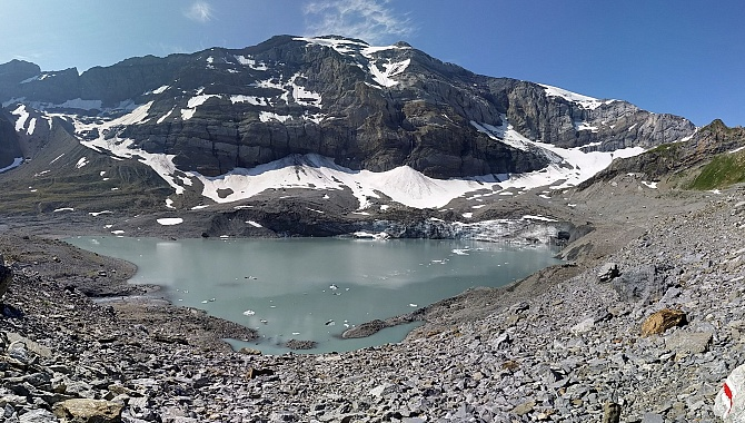 Glacier Lake at the base of Mount Clariden