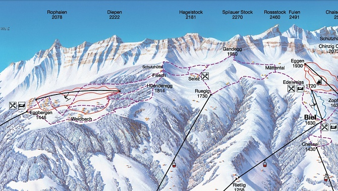 Map that shows winter trails (dotted lines)