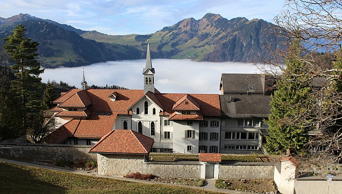 Convent of Maria Rickenbach (on a different day, with fog in the valley)