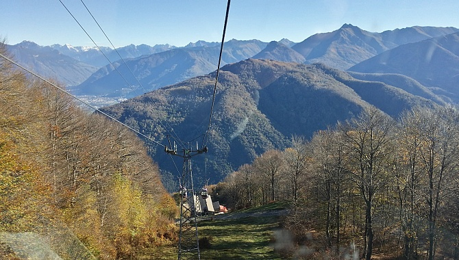 Cable car from Rivera to Alpe Foppa