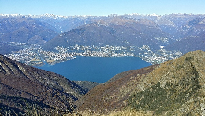 View of Locarno from summit of Monte Tamaro