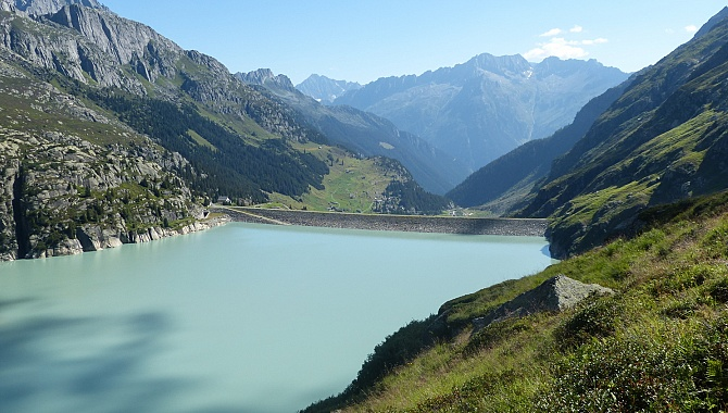 Göscheneralp Lake and Dam, along the South side of the lake