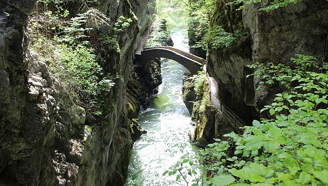 Bridge in the first Areuse Gorge at the Saut de Brot cascade.
