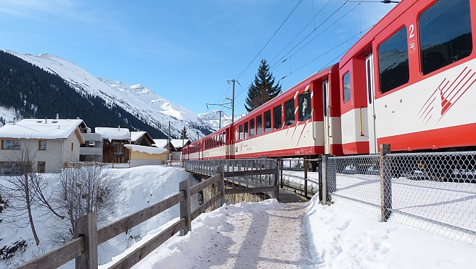 In Sedrun. The Gotthard-Matterhorn train.