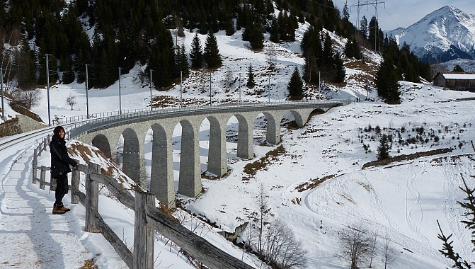 The Bugnei Viaduct in Sedrun, built between 1913 and 1925.