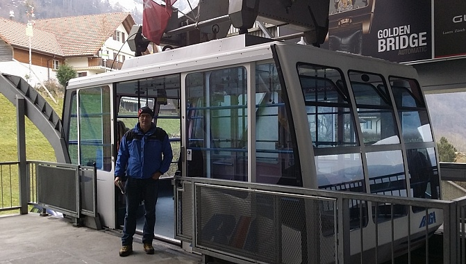 Large-capacity cabin on the Weggis cable car