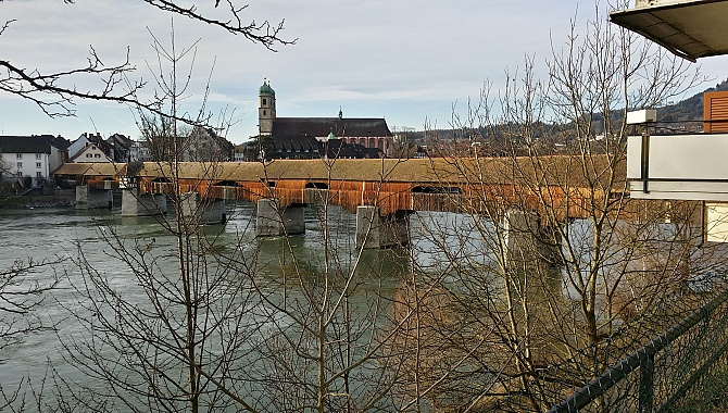 The longest covered wooden bridge in Europe (Alte Rheinbrücke at Bad Säckingen)