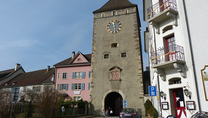 Historic town tower in Laufenburg, Swiss side