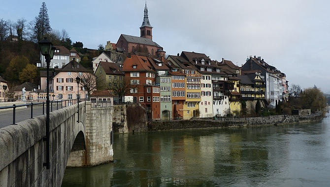 View across the bridge to Laufenburg, German side.