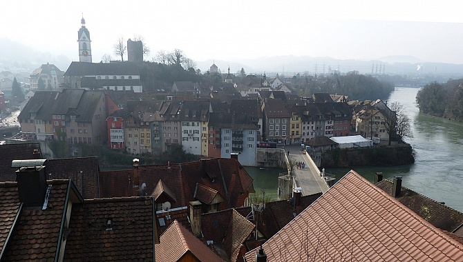 View of Laufenburg, Swiss side, from the elevated Church on the German side.