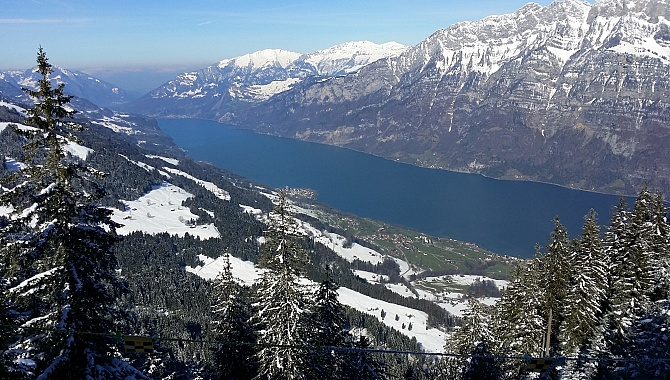 View of the Churfirsten mountains and Lake Walensee