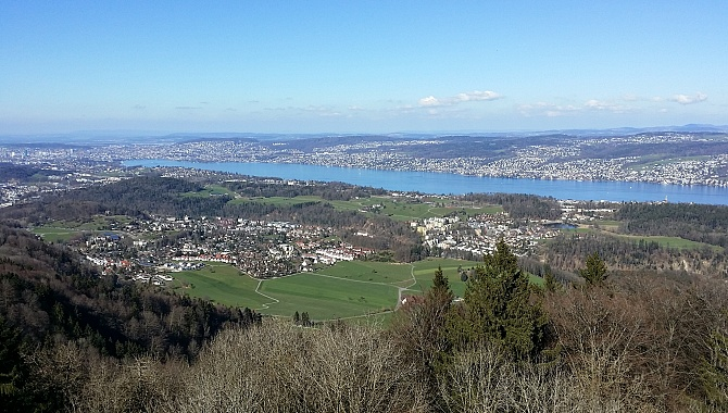View of Lake Zurich from near the Albis Pass