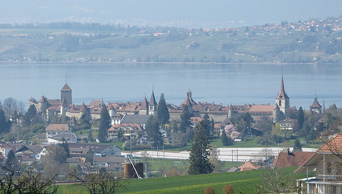 View of Murten and Lake Murten.