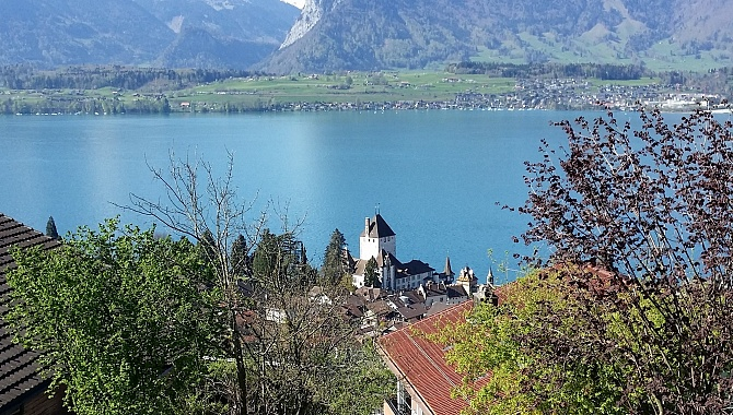 View of Oberhofen Castle from the Panorama Trail above Oberhofen.