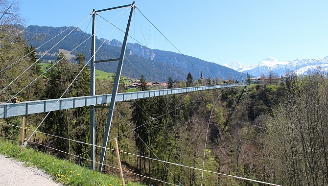 The Sigriswil Suspension Bridge on the Aeschlen side.