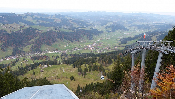 View across the Emmental from the paragliding platform at Marbachegg