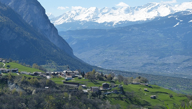 View across the Turtmann Valley from Ergisch to Unterems and the Rhone Valley