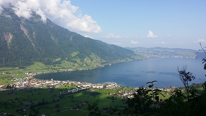 View of Arth and Lake Zug from the lookout point about half-way up.
