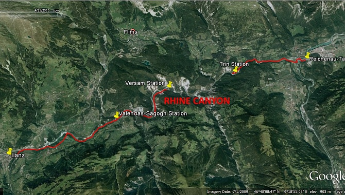 Hike from Ilanz to Versam, then by train to Trin, and on foot to Reichenau Station.