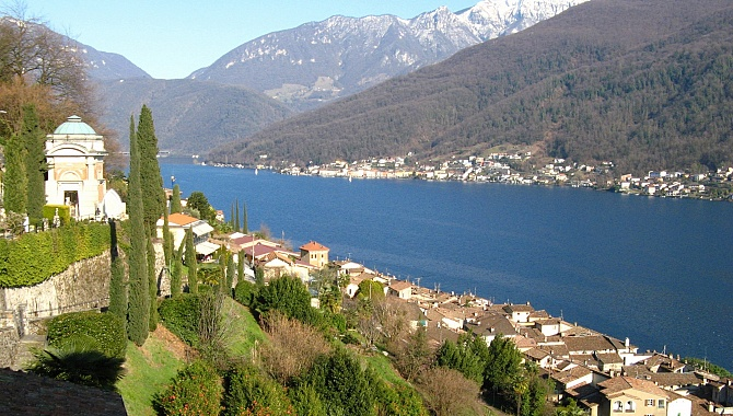View of Lake Lugano from the walls of Maria del Sasso Church