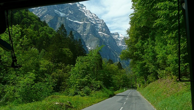 On the bus up the valley from Glarus to the Klöntaler Lake