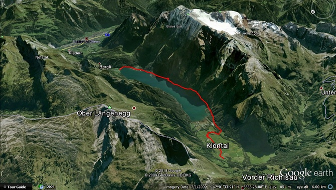Google view of the hike from Rhodannenberg to Schwändeli