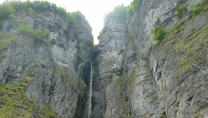 Waterfalls from the steep cliffs all along the South side of the lake.