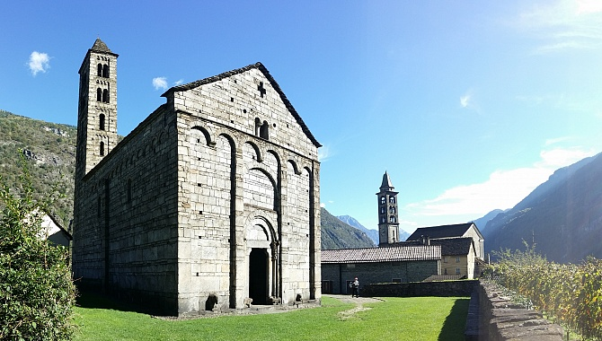 San Nicolao Church, the most impressive example of Lombard Romanesque architecture in Switzerland.
