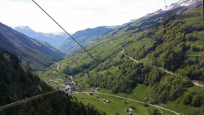 View into the Schächen Valley from the Wannelen cable Car.