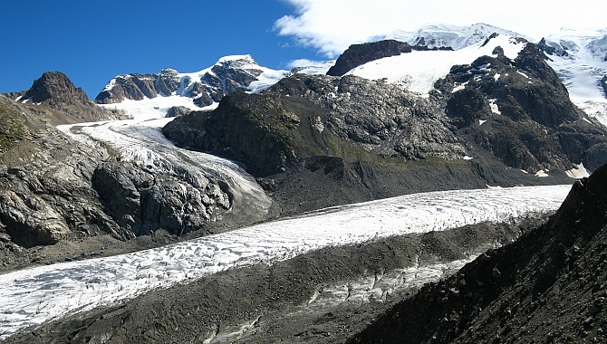 View from along the glacier moraine at the Morteratsch Glacier below and the Pers Glacier across.