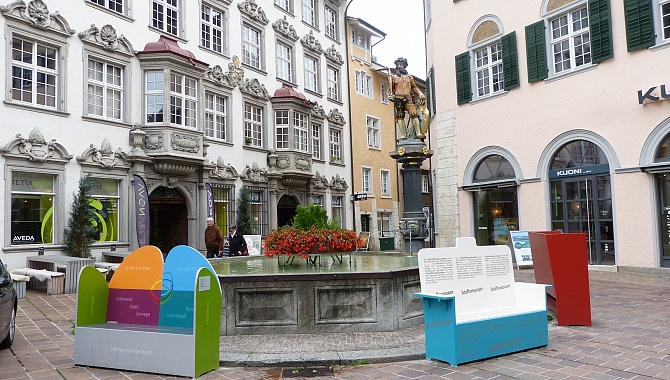 Old Town Schaffhausen with its signature benches.