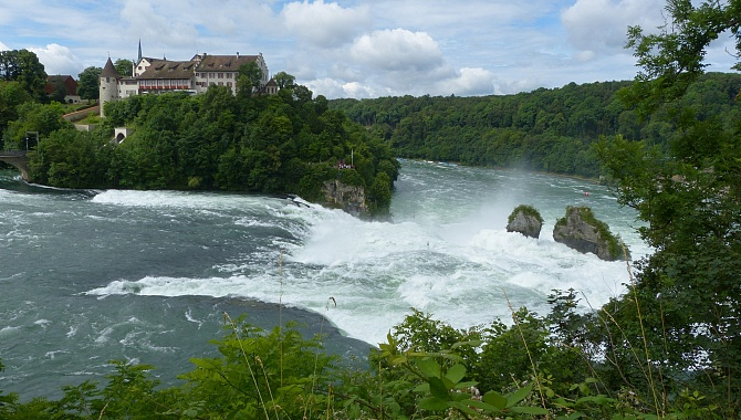 At the top of the Rhine Falls with Schloss Laufen (castle)