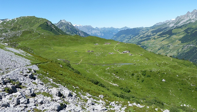 Heading down to the large alp called Oberalp where the cable car descends into the valley.