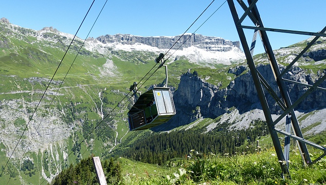 Oberalp Cable Car which descends to Aesch