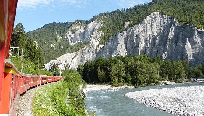 Traveling through the Rhine Canyon toward the entrance of the Safien Valley