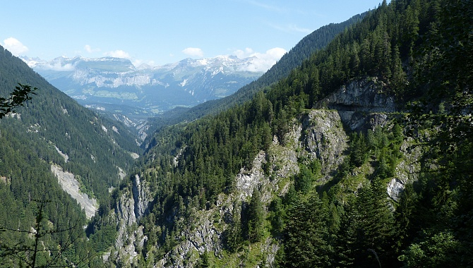 View North along the Safien Valley. The trail is on the upper right of the photo.
