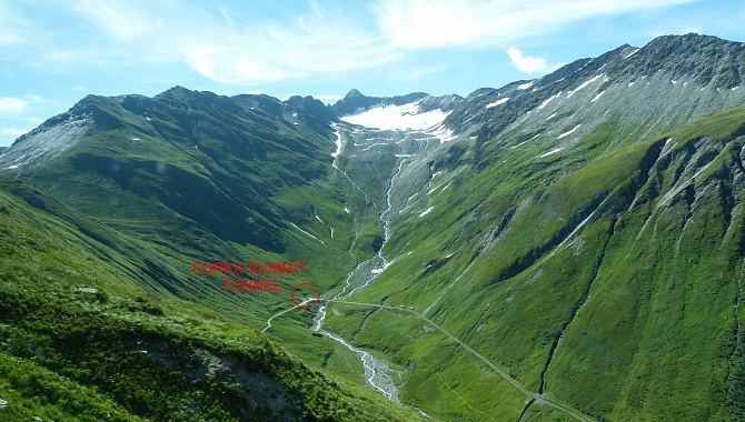 Furka Pass is on the left, and you descend to Muttbach Station where the trains cross.