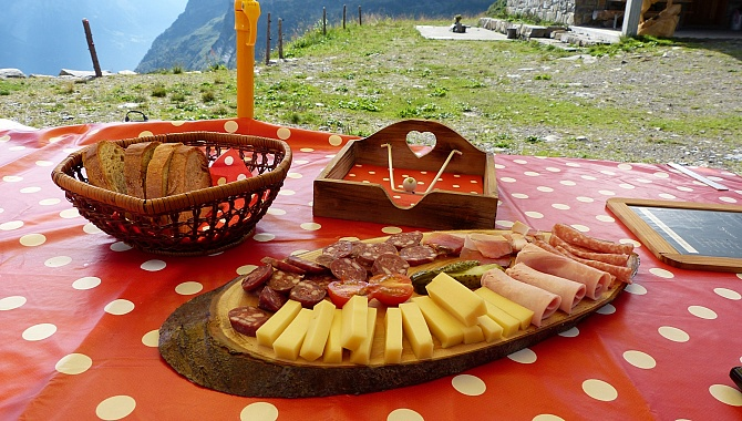 A very nice and inexpensive lunch at Alp Grat with home-made cheese.